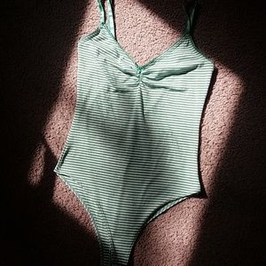 ||3 for $10||Green and white striped tank bodysuit